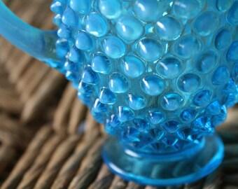 Vintage Cobalt Blue Hobnail Sugar Dish