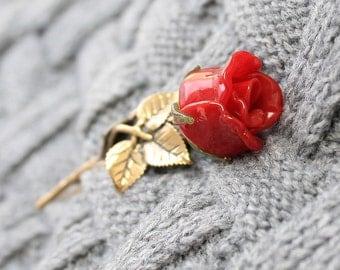 Lampwork Brooch Red Rose ,Brooch, Glass Brooch, Brooch Pin, Pin Brooch, Brooch Lampwork, Brooch Glass, Flower Lampwork Brooch, Floral Brooch