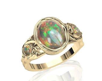 10x8mm Australian Black Opal Ring w/ 2 Round-cut 3mm Opal in 14K or 18K Gold SKU: R2286