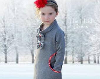 Girls Dress Pattern pdf, Stretch Dress Pattern, Dress Pattern, Girls Sewing Pattern, Kids Sewing Pattern, Winter Dress Pattern, HEIDI