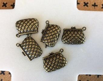 Antique Bronze Purse Charm Pendant
