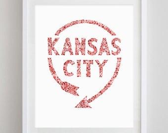 Kansas City Western Auto Sign Floral Watercolor Print