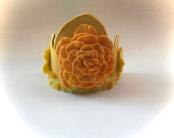 Felted flower Crown.Waldorf.Bithday.Flowers.