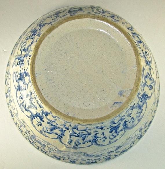 Antique Spongeware Batter Bowl Mixing Bowl Large Blue