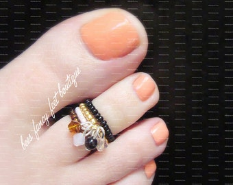 Stacking Toe Ring | Cinnamon Honey | Dangle Crystal Charms | Stretch Bead Toe Ring