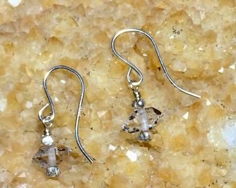 Herkimer Diamond Earrings- Handmade Earrings-Sterling Silver Earrings-Beaded Earrings-Herkimer Diamond Bead Earrings