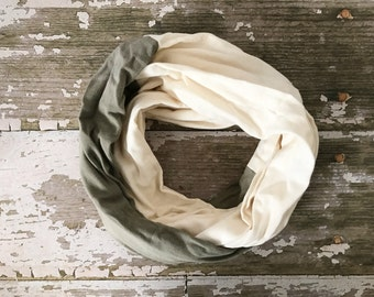 Double Gauze Infinity Scarf in Dark Gray and Cream