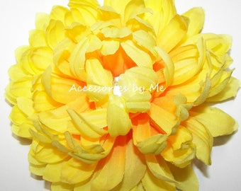 Flower Hair Clip, Rhinestone Flower Hair Piece, Floral Wedding Bridal Party Clip, Coral Orange, Bright Yellow, Ivory Clip, Costume Dress Up