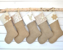 Personalized Christmas Stockings -  Ivory/White Set of 5 - Stockings, Burlap Stockings, Neutral Stockings, Christmas Stocking Set