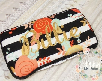 Personalized Baby Wipe Case * Floral  Gold Black White Stripes  Wipe Case *   Travel Baby Wipe Case *  Baby Shower Gift *  Baby Wipe Clutch