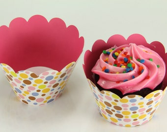 Reversible Polka Dot Wrappers Multi-ColorCupcake Wrap Liners