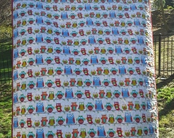 SALE Baby Crib Gender Neutral Crib, Baby Girl Crib, New Baby Gift, Baby Shower, Boho Owl Quilt for Crib Toddler or Cot in Bright Colors