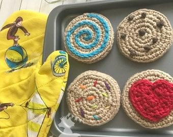 Kids Baking Set, Pretend Play Cookies, Play Oven Mitt, Crochet Cookie Set, Toddler Play Food, Play Baking Cookies, Oven Mitt Mini Whisk