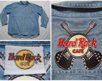 Vintage Retro Men's 90's Hard Rock Cafe Denim Shirt Blue Puerto Vallarta Mexico Embroidered XL