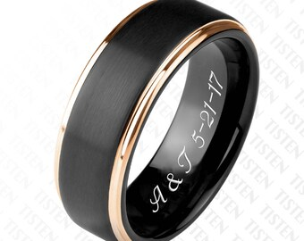 Personalized Black Matte &  Gold Stepped Edge Ring Custom Engraved, Promise Rings, Wedding Bands, Couples Ring Set Engraved Free