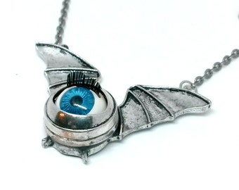 Blue Eye Bat Necklace Handmade jewelry Gift
