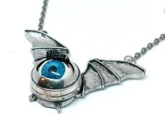 Blue Eye Bat Necklace Handmade jewelry Gift