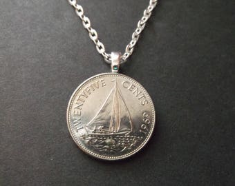 Bahamas Coin Necklace -Bahama Island Sailboat 1969 Coin Pendant with Bail and Chain