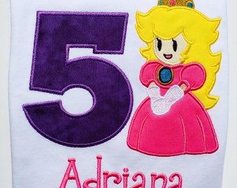 SUPER Bros.PRINCESS PEACH Personalized Embroidered Birthday T-shirt