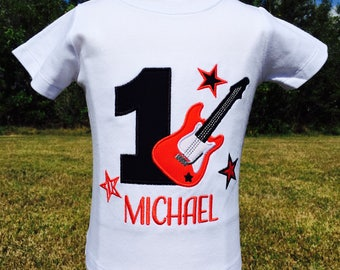 ROCK STAR BIRTHDAY-Personalized Embroidered Bodysuit or Boys T-shirt