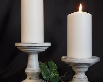 Primitive White Lathe-turned Wooden Pillar Candle Holder Set of 2 - MADE IN USA