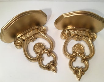 Ornate Pair Gilt Wall Sconce with Shelf 1940s Syroco Wood Co
