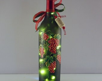 Red grapes, hand painted, wine bottle light, Tuscany style decor
