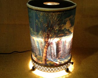 Mid-Century Grist Mill Water Fall Motion Lamp - Econolite 1956 - Oval Base - See Condition Issues