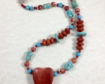 Red Heart Turquoise Silver Beaded Necklace