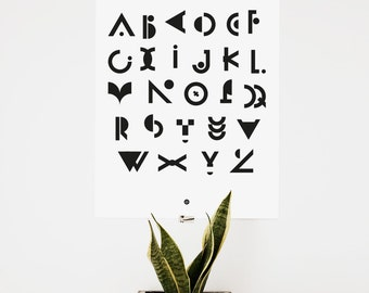 Instant download, digital print, Alphabet, Typography ABC poster, (40 x 50 cm), geometric, Letters, Black and white poster, Graphic Design