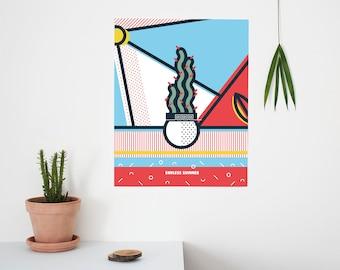 Endless Summer, Pop Art, Summer, Cactus, landscape, Colour, illustration, Wall Art, Home Decor, Poster, 40 x 50cm, Geometric