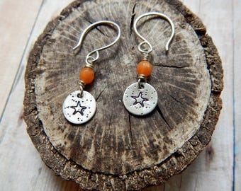 Starfish earrings, silver charm earrings, beach earrings, orange gemstone