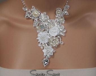 SALE Bridal Necklace, Bride Necklace, Wedding Necklace, Bridal jewelry, Wedding jewelry, Flower Necklace, layered Necklace, chunky necklace