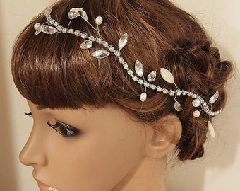 SALE Rhinestone Wedding headpiece, Rhinestone Bridal headpiece, Wedding Hair Pins, Bridal Hair Pins, Silver Leaf Hair Pins, Pearl Hair Pins