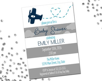 Airplane Baby Shower Invitation - Large Grey and White Stripes - Printable