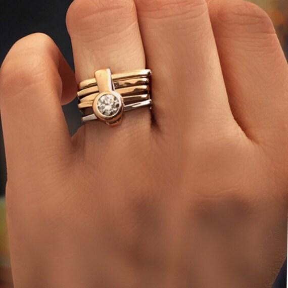 Modern Engagement Ring: CONTEMPORARY ENGAGEMENT RING Bezel Set Diamond Modern