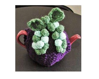 TEA COSY - Hand Knitted Cosy - GRAPE Tea Cosy - Knitted Cozies - Knitted Tea Cosies - Tea Cozy