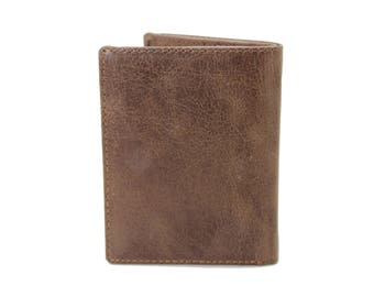 Mens Small Slim Bifold Genuine Leather Wallet Coins Card Camel Crunch  9640