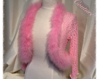 Baby Pink Lace and Marabou Feather Shrug, Bolero, Jacket