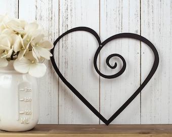 "Heart Metal Wall Art | Wedding Decor | Valentine's | Valentines | Gift | Love Wall Art | Metal Sign | Outdoor Sign | Wall Decor | 9""W x 8""H"