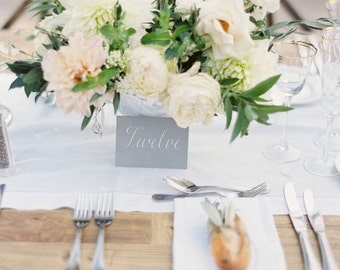 "Wedding Table Number - Calligraphy by Hand - Simple, Clean and Classic Minimalist Style - 3.5 x 5"" Size - Available in Color of Your Choice"