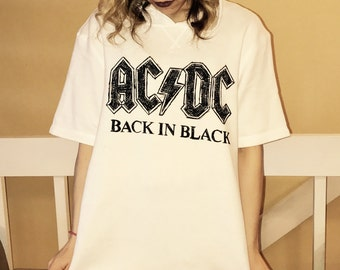 AC/DC hoodie short sleeve top guys size small or medium, ladies size small/medium/large