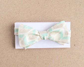 Cream Bow Tie with Green and Gray Geometric Stripes