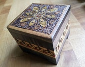 Hand Carved Vintage Ornate Wood Stash Box Meditation Mandala Gypsy Jewelry Flower Treasure Chest Boho Bohemian Decor Gift Polish Handcrafted