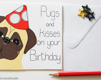 Pug birthday card, Pug gifts, Greeting cards, Dog celebration card, Pug illustration,  Pug lover card, Cute Birthday card for a pug owner