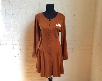 vintage button up long sleeve brown dress women's size large