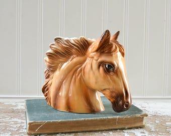 Vintage Horse Head Planter Ceramic Vase - Rustic Western Decor