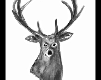 SALE Stag art Deer painting Elk Woodland animal 7 x 10 inch art Stag illustration Wall art Deer decor Gift for him Gif for men One of a kind