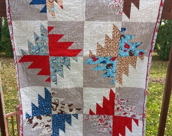 Modern Buzzsaw Cowboy Rodeo Quilt, Baby Blanket, Crib Quilt, Toddler Blanket, Snuggle Quilt, Security Blanket, Throw Blanket, Travel Blanket