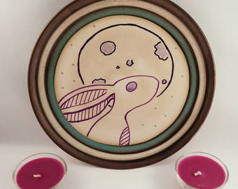Moon gazing hare decorative plate. Witches, Wicca,  paganism.